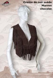 Gilet avec franges femme croûte de cuir vachette velours marron