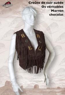 Gilet à franges et os femme croûte de cuir vachette velours marron