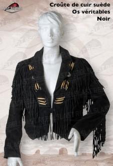 Spencer à franges et os femme croûte de cuir vachette velours noir