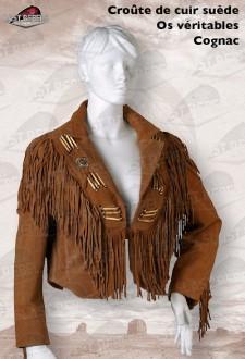 Suede fringe spencer jacket HYENE cognac color
