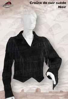 Spencer avec franges femme croûte de cuir vachette velours noir