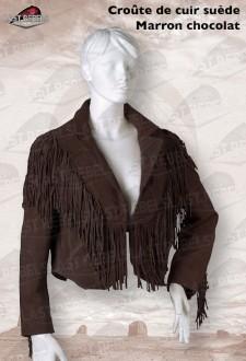 Spencer avec franges femme croûte de cuir vachette velours marron