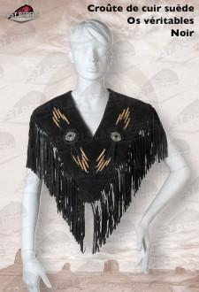 Poncho à franges et os femme croûte de cuir vachette velours noir