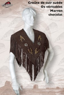 Brown poncho with fringe split suede cow leather for woman