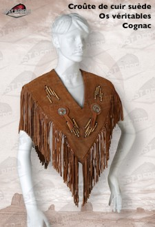 Cognac leather poncho with fringe split suede leather