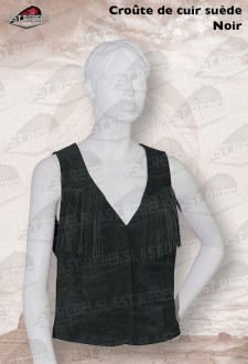Fringed leather Waistcoat LADY 03 split suede leather black color
