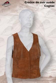 Gilet avec franges femme croûte de cuir vachette velours cognac