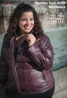 Classic plus size sheep leather jacket maroon color for woman