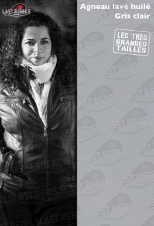 Urban style plus size leather jacket light grey for woman