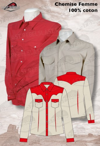 Longues Beige Country Chemise Et Rouge Manches FlKJ1cT3