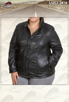 Classic plus size sheep leather jacket black color for woman
