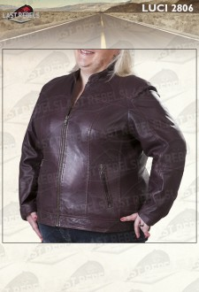 Plus size leather jacket stand collar maroon color for woman