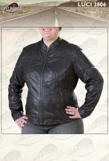 Plus size leather jacket stand collar black color for woman
