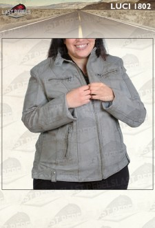 Urban style plus size leather jacket charcoal color for woman
