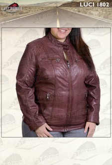 Urban style plus size leather jacket maroon color for woman
