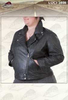 Plus size sheep leather Perfecto black color for woman