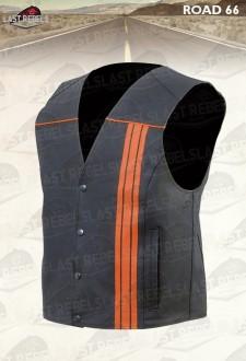 Gilet croûte de cuir eco homme noir et orange