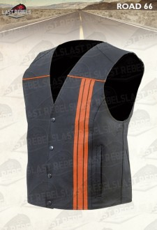 Motorcycle Waistcoat ROAD 66 split leather black and orange