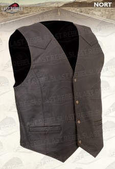 Buffalo leather Waistcoat NORT skipper brown color