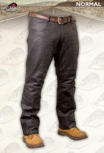 Pantalon cuir buffle skipper coupe Jeans marron