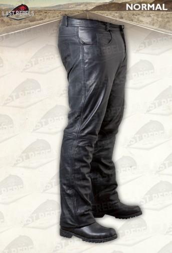 Pantalon cuir agneau noir coupe jeans homme