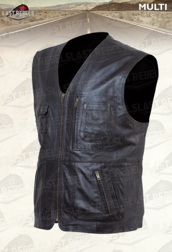 Gilet multi poches agneau cuir nappa noir pour homme