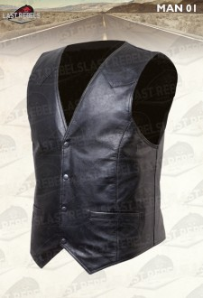 Black Leather Waistcoat MAN 01 sheep nappa leather, motorcycle and urban style