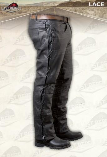 Pantalon avec lacets cuir buffle noir