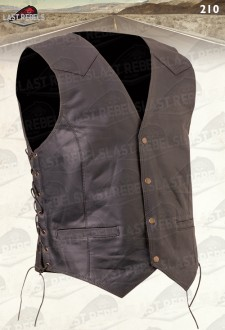 Side lace leather Waistcoat buffalo skipper brown color