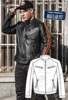 Biker sheep leather jacket REGULAR FIT black and orange