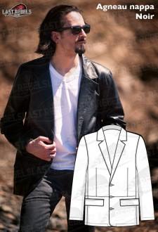 Veste cuir agneau noir style BLAZER homme