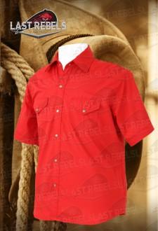 Camisa Country hombre manga corta 100% algodón roja
