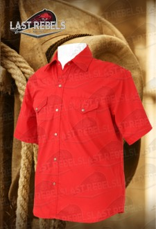 Men's short sleeve Country Shirt red colour 100% cotton
