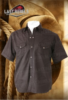 Camisa Country hombre manga corta 100% algodón negra