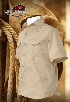 Camisa country hombre manga corta 100% algodón beige