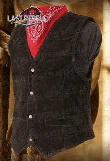 Gilet homme cuir vachette toucher velours noir