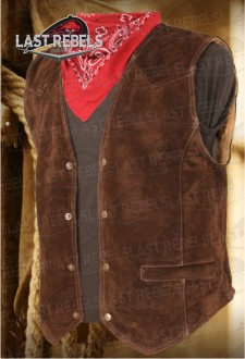 Brown leather Waistcoat split cow suede leather