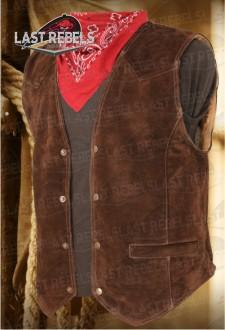 Gilet homme cuir vachette toucher velours marron
