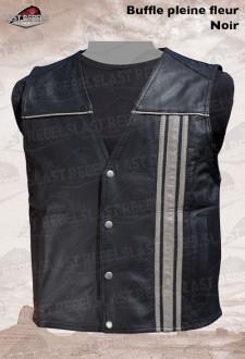 Buffalo leather Vest ROAD 66 with dark grey vertical stripe