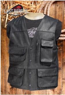 Gilet multi poches cuir buffle pleine fleur noir
