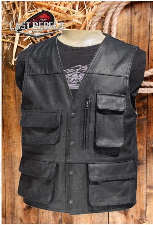 592b8bc1ab2 Gilet multi poches cuir agneau marron pour homme