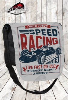 "Bolso con solapa imprimida ""Speed racing"""