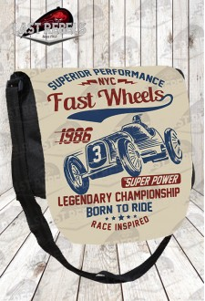 "Besace imprimé vintage ""born to ride"""