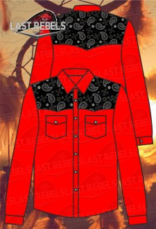Men's long sleeve Country Shirt red colour sublimation shoulders