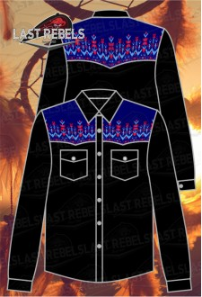 Men's long sleeve Country Shirt black colour with blue sublimation shoulders