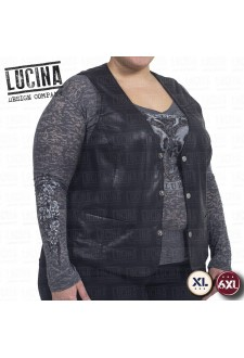 Leather vest for women, Plus size, LUCI 2851, black color