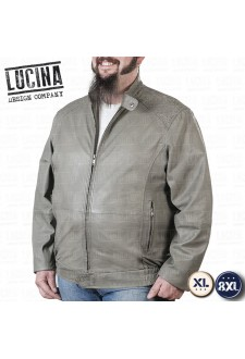 Leather jacket for men, Plus size, NINO 1857, grey color