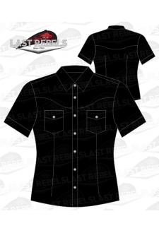 Chemise Country femme manches courtes 100% coton noir