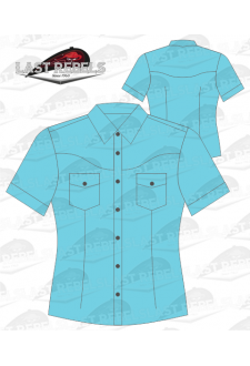 Chemise Country bleu turquoise - Manches courtes