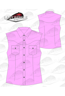 Chemise Country rose - Sans manches